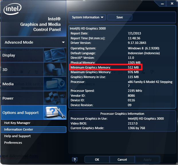 Menambah VRAM VGA Intel HD Graphic ASUS A43E – Site Title